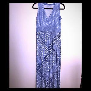 L.L. Bean Size S Blue/White Maxi Dress